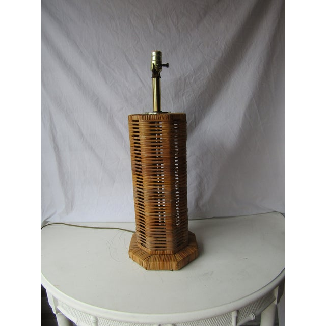 1980s Vintage Unique Tall Woven Rattan 8 Sided Lamp For Sale - Image 5 of 6