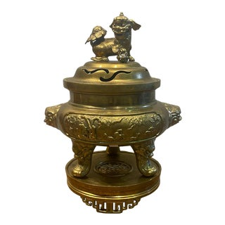 Vintage Late 19th Century Brass Censer With Foo Dog Finial For Sale