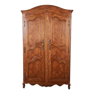 Baker Furniture French Country Louis XV Style Oak Armoire Dresser For Sale