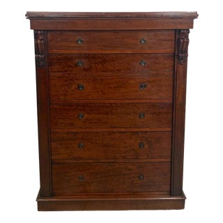 19th Century English Traditional Wellington Secretary Chest of Drawers For Sale