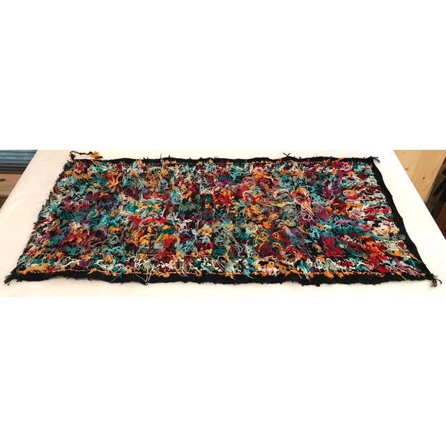 Blue Mid 20th Century Vintage Woven Table Runner Rug- 3′4″ × 1′7″ For Sale - Image 8 of 9