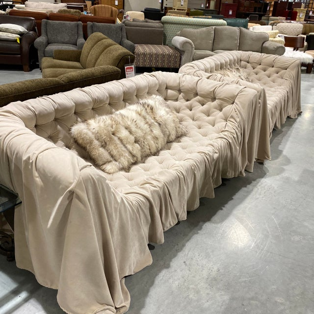 Textile Italian Tufted Sofas - a Pair For Sale - Image 7 of 8
