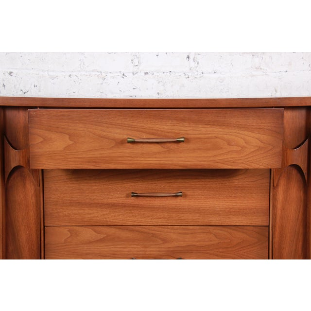 Wood Kent Coffey Perspecta Sculpted Walnut and Rosewood Credenza For Sale - Image 7 of 11