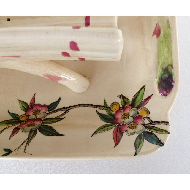 19th Century French Faience Asparagus Strainer & Attached Serving Dish For Sale In Miami - Image 6 of 13