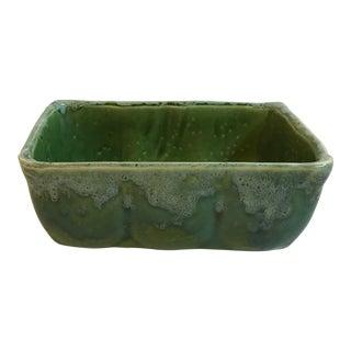 Vintage Mid Century Green Drip Glaze Ceramic Planter For Sale
