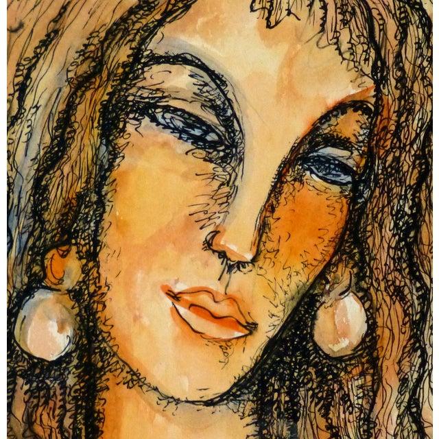 Vintage Female Portrait Watercolor Painting - Image 3 of 5