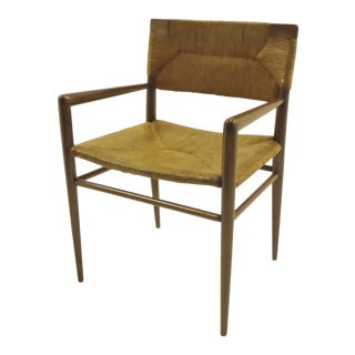 Mel Smilow 1956 Danish Modern Creation for Smillow Thielle in Walnut and Woven Rush Armchair For Sale