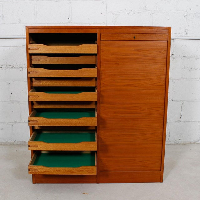 Danish Modern Teak Double Tambour Door Jewelry Cabinet Chairish