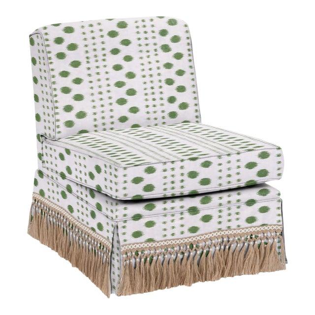 Virginia Kraft for Casa Cosima Skirted Slipper Chair, Polkat, Forest For Sale