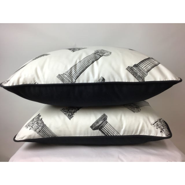 Modern Cotton Printed Column Pattern Pillows With Black Canvas Backs - A Pair For Sale - Image 3 of 6
