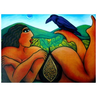 """Reclining Nude With Raven"" Print by Julie Higgins For Sale"