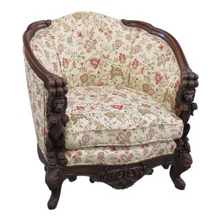 Early 20th Century Vintage Carved Victorian Bergere For Sale