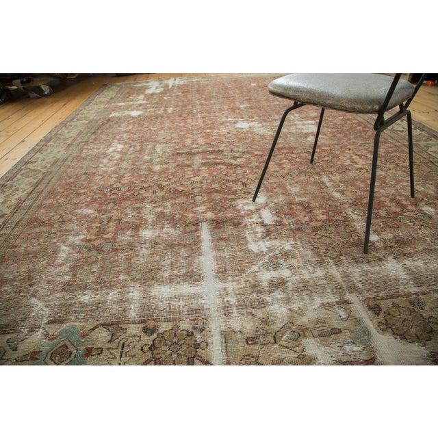 "Antique Distressed Mahal Carpet - 9' x 11'6"" For Sale - Image 10 of 10"