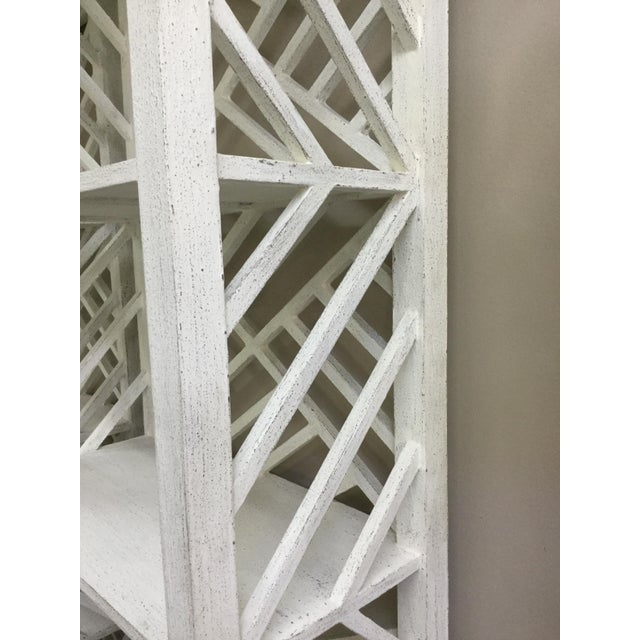 Contemporary Contemporary White Slat Back & Side 4-Shelf Etagere For Sale - Image 3 of 6