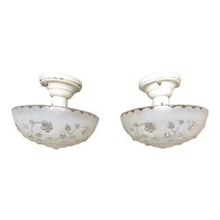 Pair of 1930s-40s Porcelier Hanging Light Fixtures - Rewired For Sale