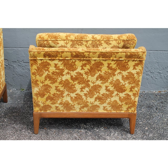 1950s Vintage Velvet Winged Sided Lounge Chairs - a Pair For Sale - Image 10 of 11