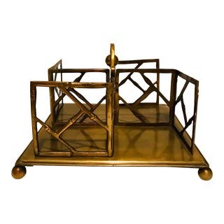 1990s Vintage Faux Bamboo Brass Desk Book Stand For Sale