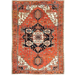 "Antique 1900s Persian Heriz Serapi Rug Carpet - 11'4"" x 15'5"" For Sale"