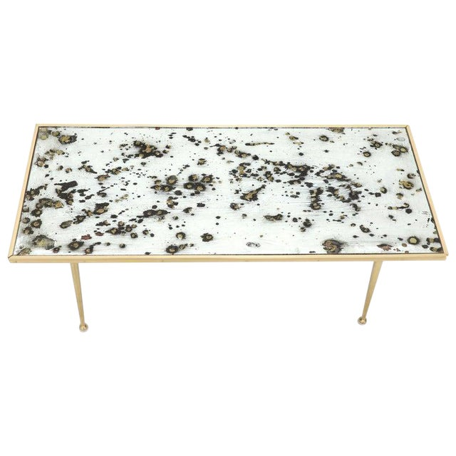 Small Italian Rectangular Coffee Table on Brass Legs Mirrored Top For Sale