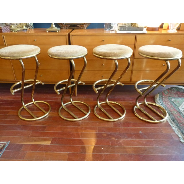 Brass Plated Cantilevered Bar Stools - Set of 4 - Image 3 of 7