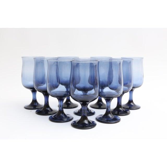 Mid Century Blue Stemmed Wine Glasses - Set of 10 - Image 2 of 5