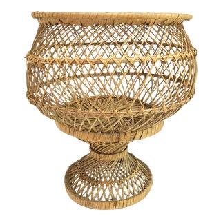 1960s Vintage Rattan Footed Basket For Sale
