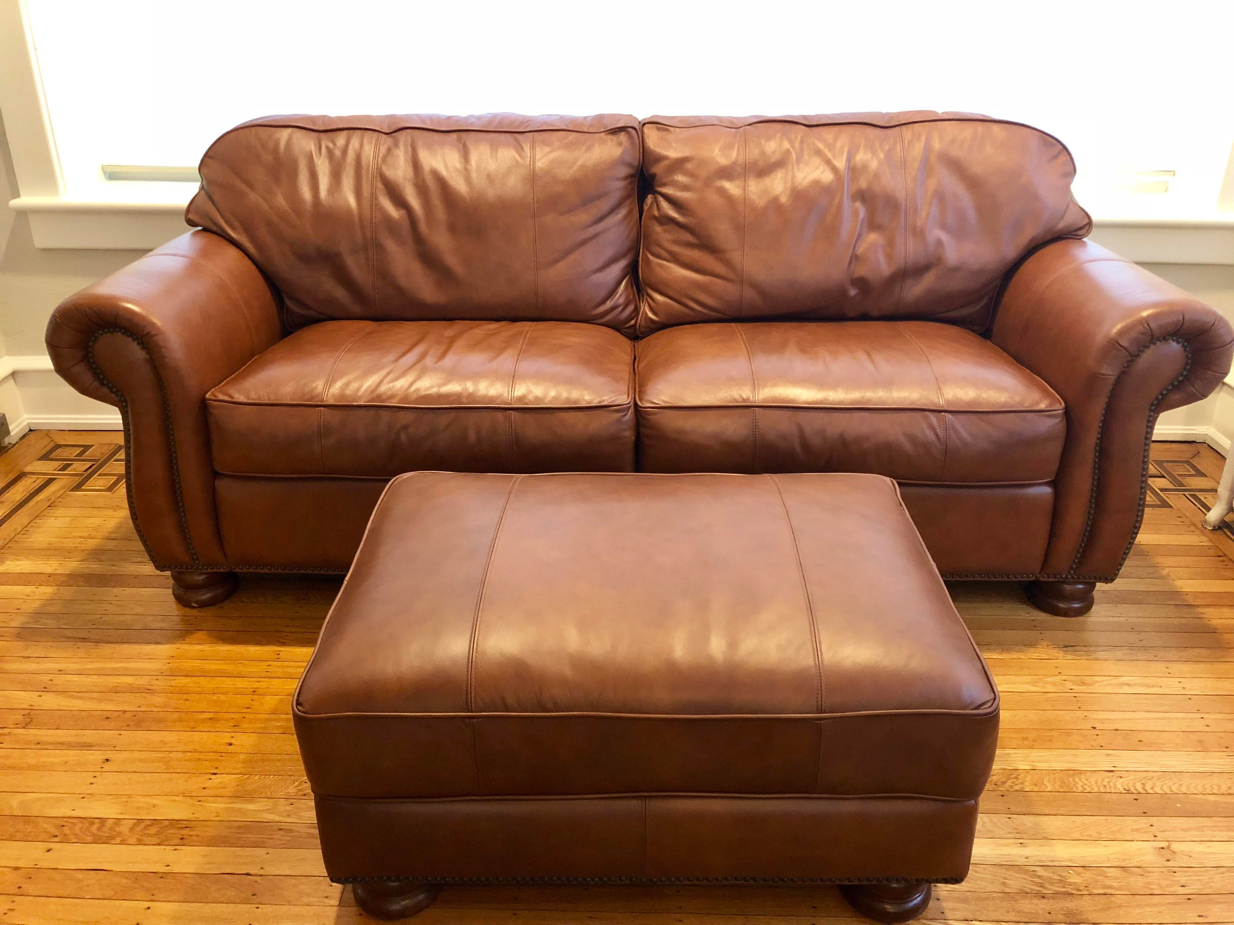 Thomasville Benjamin Brown Leather Sofa U0026 Ottoman   Image 6 ...