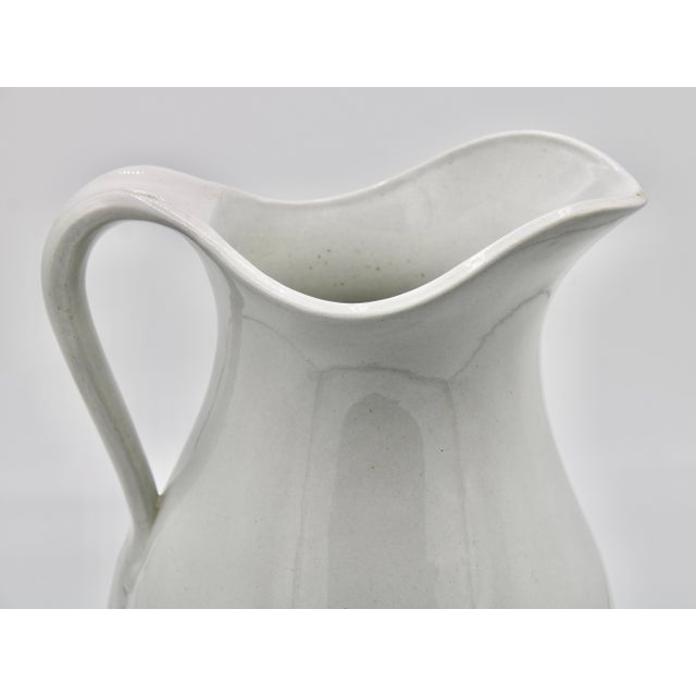 Large Vintage White Ironstone Ceramic Pitcher For Sale - Image 4 of 10