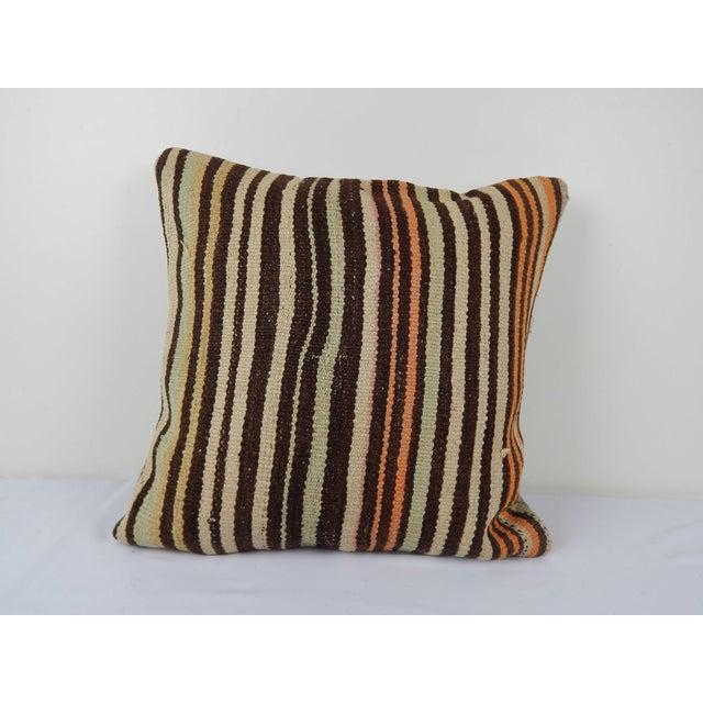 "Vintage Turkish Hemp Kilim Pillow Cover 20"" X 20"" For Sale In Philadelphia - Image 6 of 6"