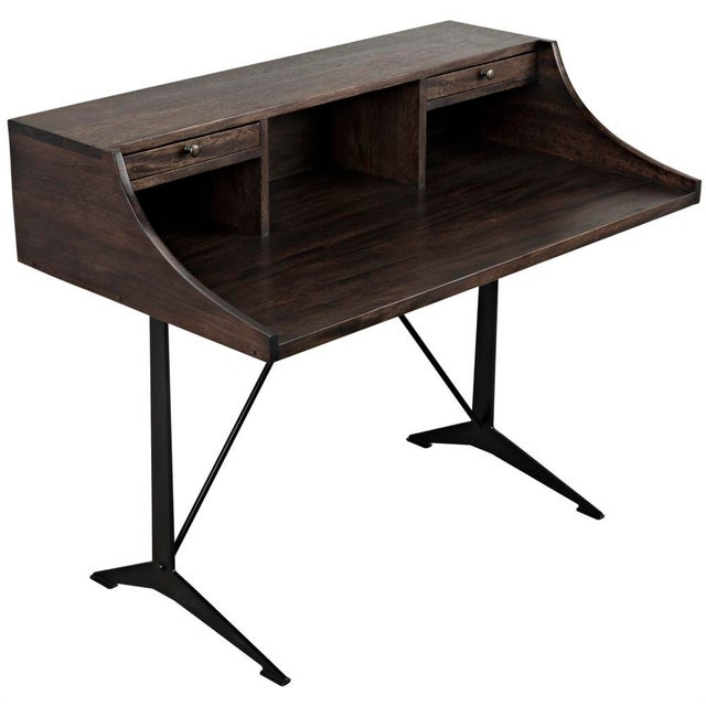 Metal Croft Desk with Metal, Ebony Walnut For Sale - Image 7 of 12