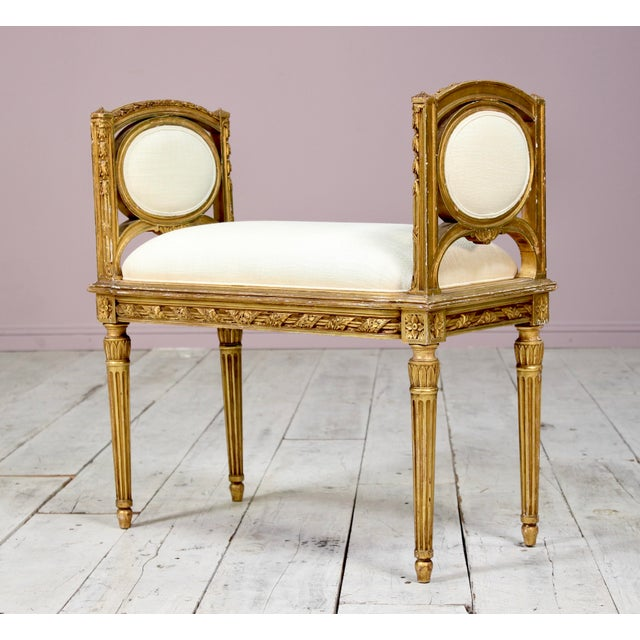 1920s Vintage French Louis XVI-Style Gilt Wood Bench For Sale In Los Angeles - Image 6 of 6