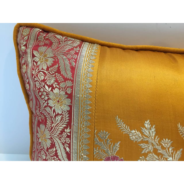 Orange Silk Pillow Custom Made From Indian Wedding Saris For Sale - Image 4 of 7