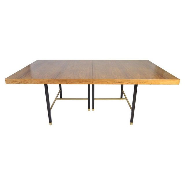Gold Harvey Probber Rosewood and Mahogany Dining Table With Brass Accents For Sale - Image 8 of 8