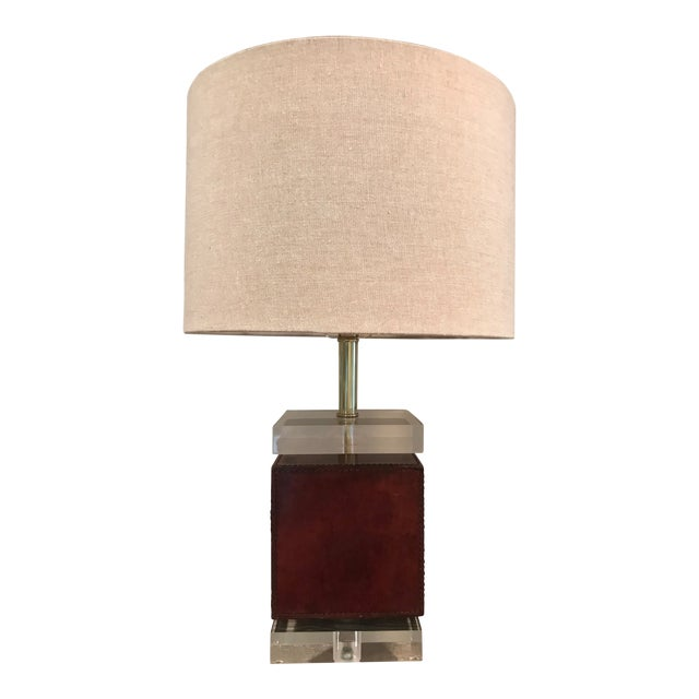 Ambassador Table Lamp - Brown Leather Base For Sale