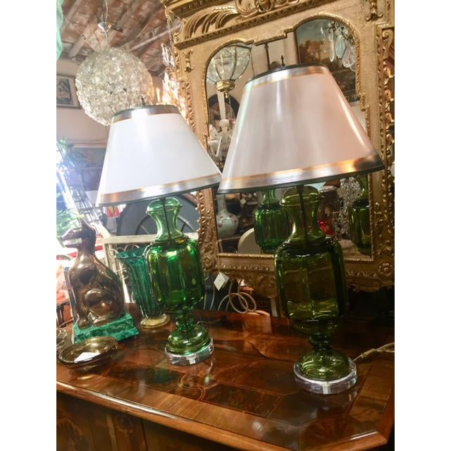Pair of Vintage Emerald Green Murano Lamps Marbro Company, included with Shades, white with Silver and gold and green...