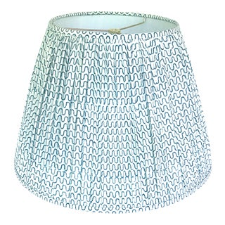 Gathered Pleat Les Indiennes Indigo Lamp Shade 12x18x12 For Sale