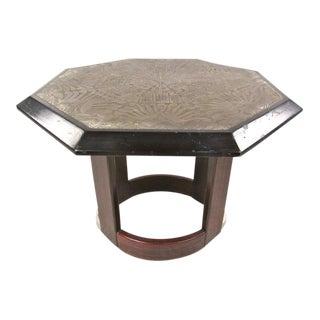 1960s Mid-Century Modern Octagonal Metal Top Pedestal Table