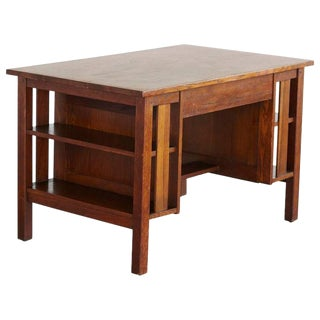 Arts & Crafts Mission Style Oak Library Table with Integrated Bookcase Ends