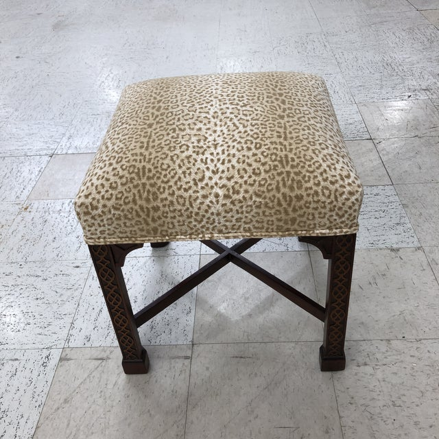 Wood Classic Chippendale Style Square Stool For Sale - Image 7 of 7
