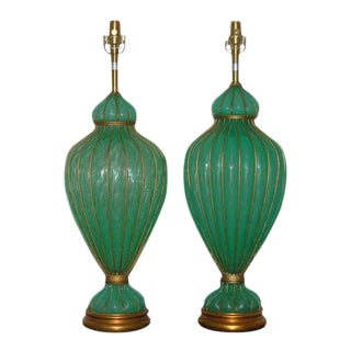 Marbro Murano Opaline Glass Table Lamps Green For Sale