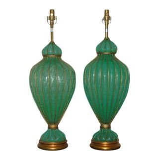Marbro Murano Opaline Glass Table Lamps Green