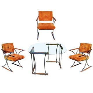 Set of Three Chrome Dining Chairs and Dining Table Set in the Style of Cleo Baldon For Sale