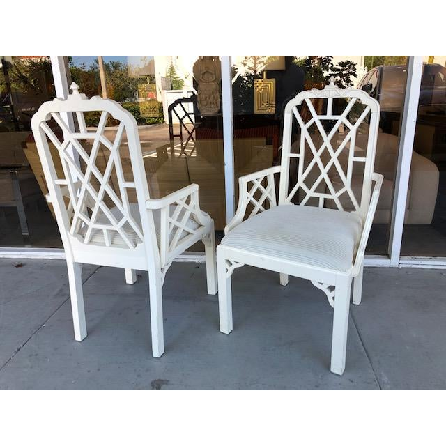 White 1970s Vintage Palm Beach Regency Chinoiserie Pagoda Arm Chairs- A Pair For Sale - Image 8 of 10