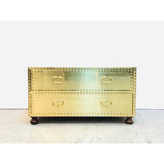 1970s Hollywood Regency Sarreid Clad 2 Drawer Chest For Sale - Image 12 of 12