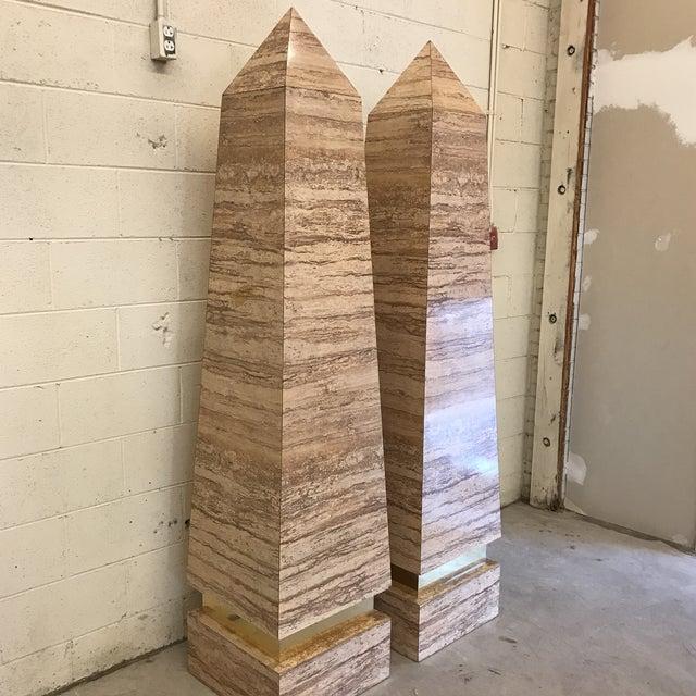 Monumental Faux Travertine Laminate Obelisks - A Pair For Sale - Image 4 of 11