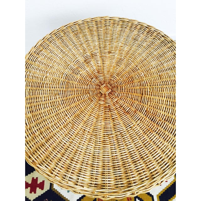 Mid Century Round Wicker Side Table on Metal Base - Image 5 of 10