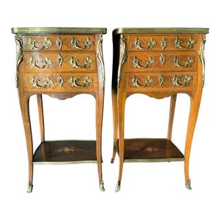 19th Century French Tulip Wood Commodes With Inlaid and Bronze Details - a Pair For Sale