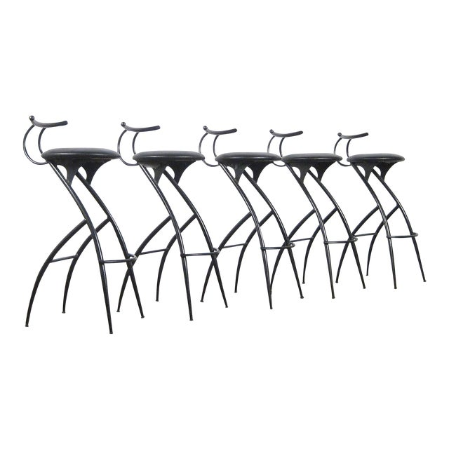 Postmodern Italian Bar Stools- Set of 5 For Sale