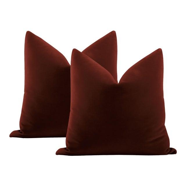 """22"""" Oxblood Italian Velvet Pillows - a Pair For Sale"""