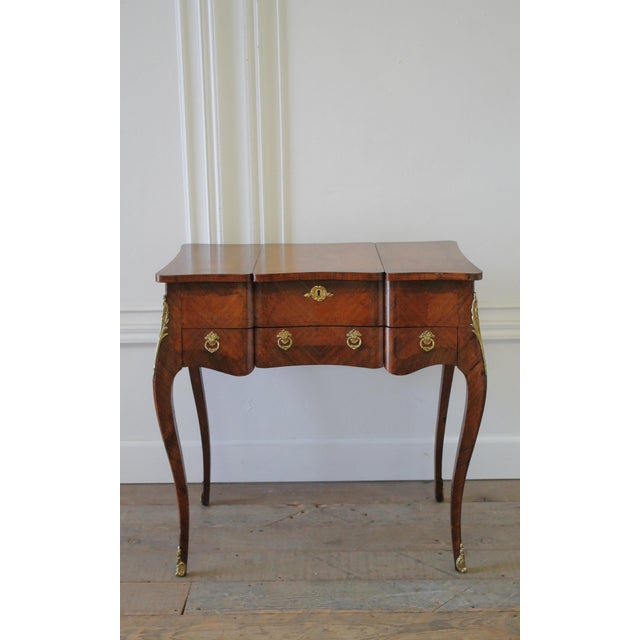 Glass 20th Century Italian Inlaid Vanity With Mirror and Key For Sale - Image 7 of 11